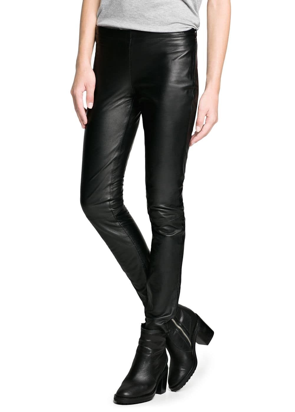 Leather slim-fit trousers | MANGO