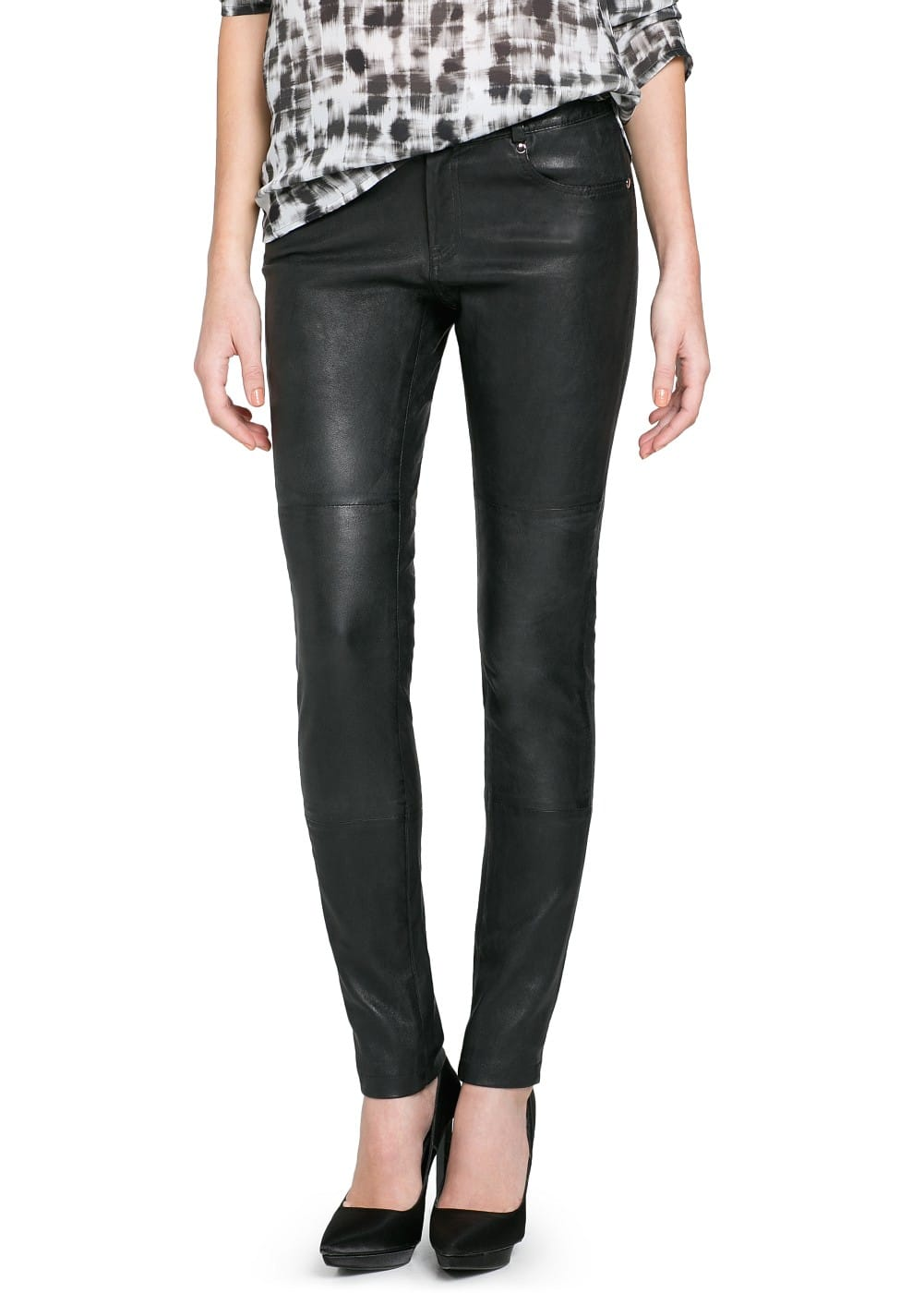 Slim-fit leather trousers | MANGO