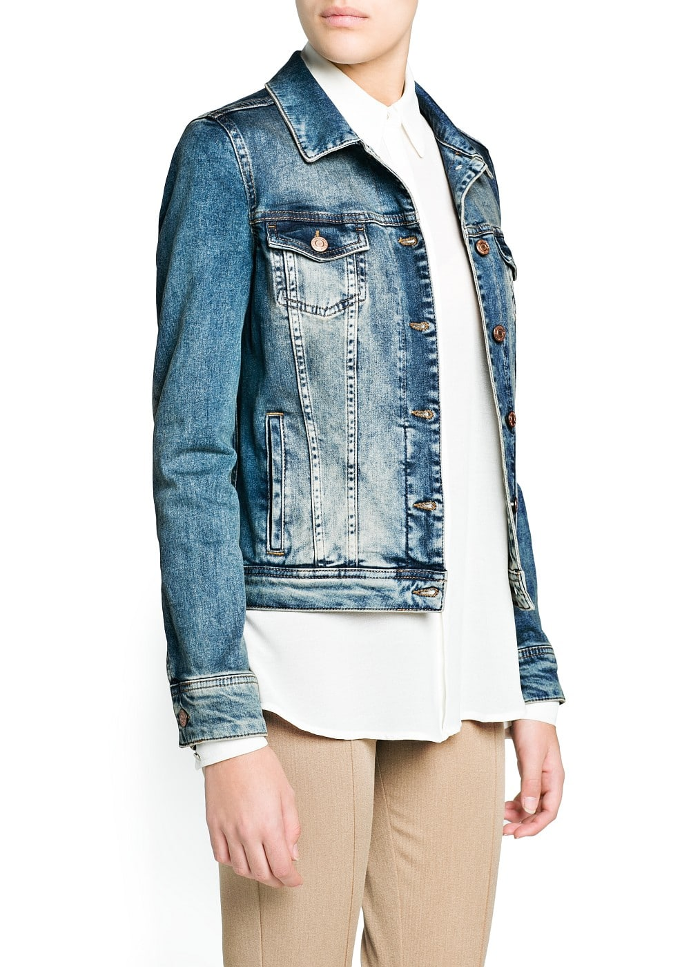 Vintage wash denim jacket | MANGO