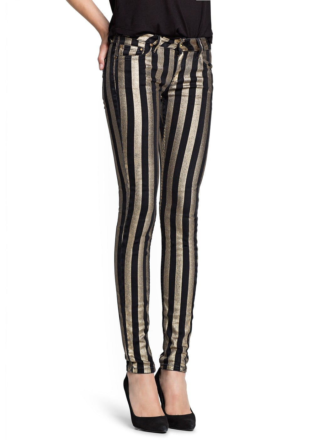 Super slim-fit striped eclat jeans | MANGO
