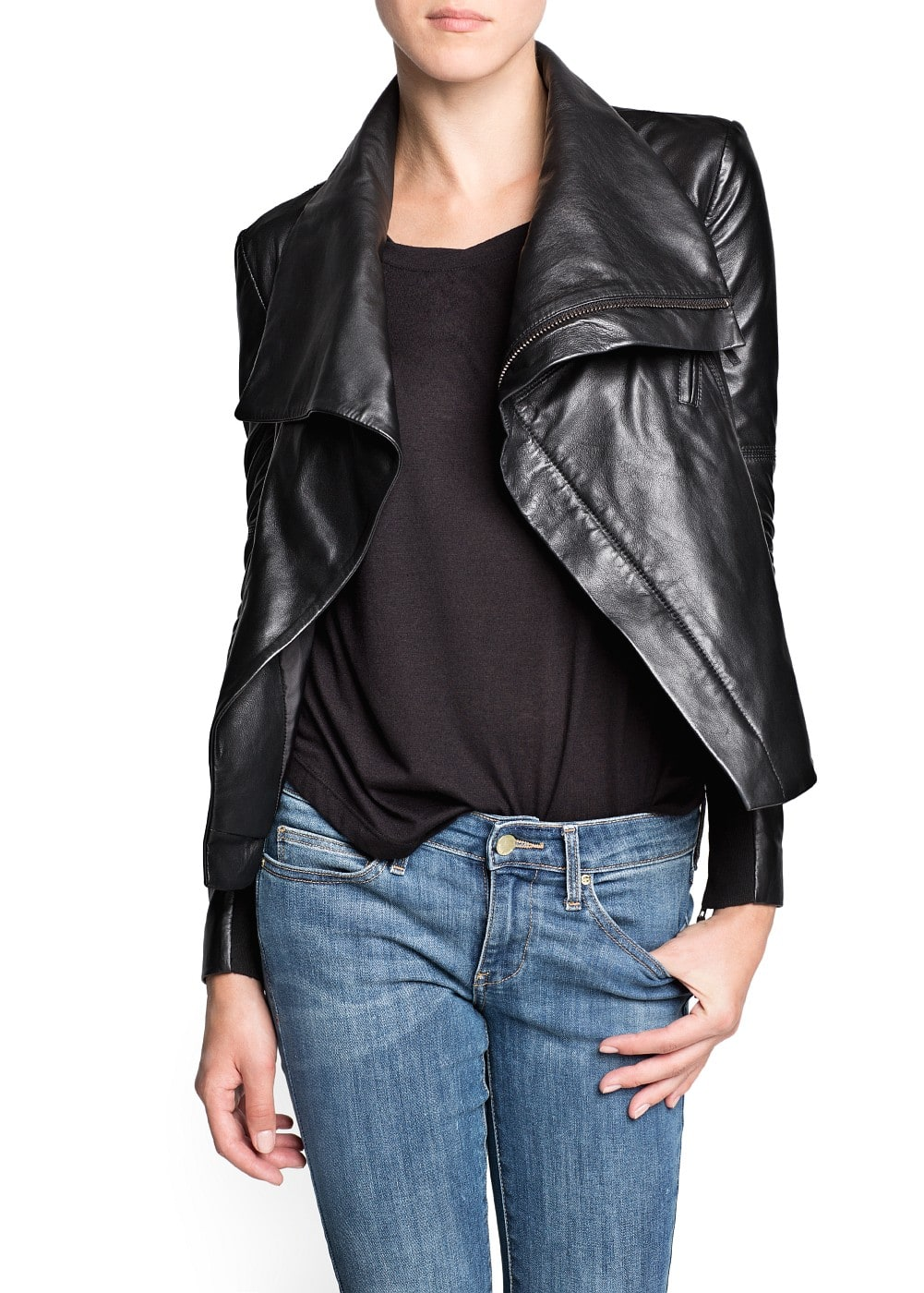 Maxi flap leather jacket | MANGO