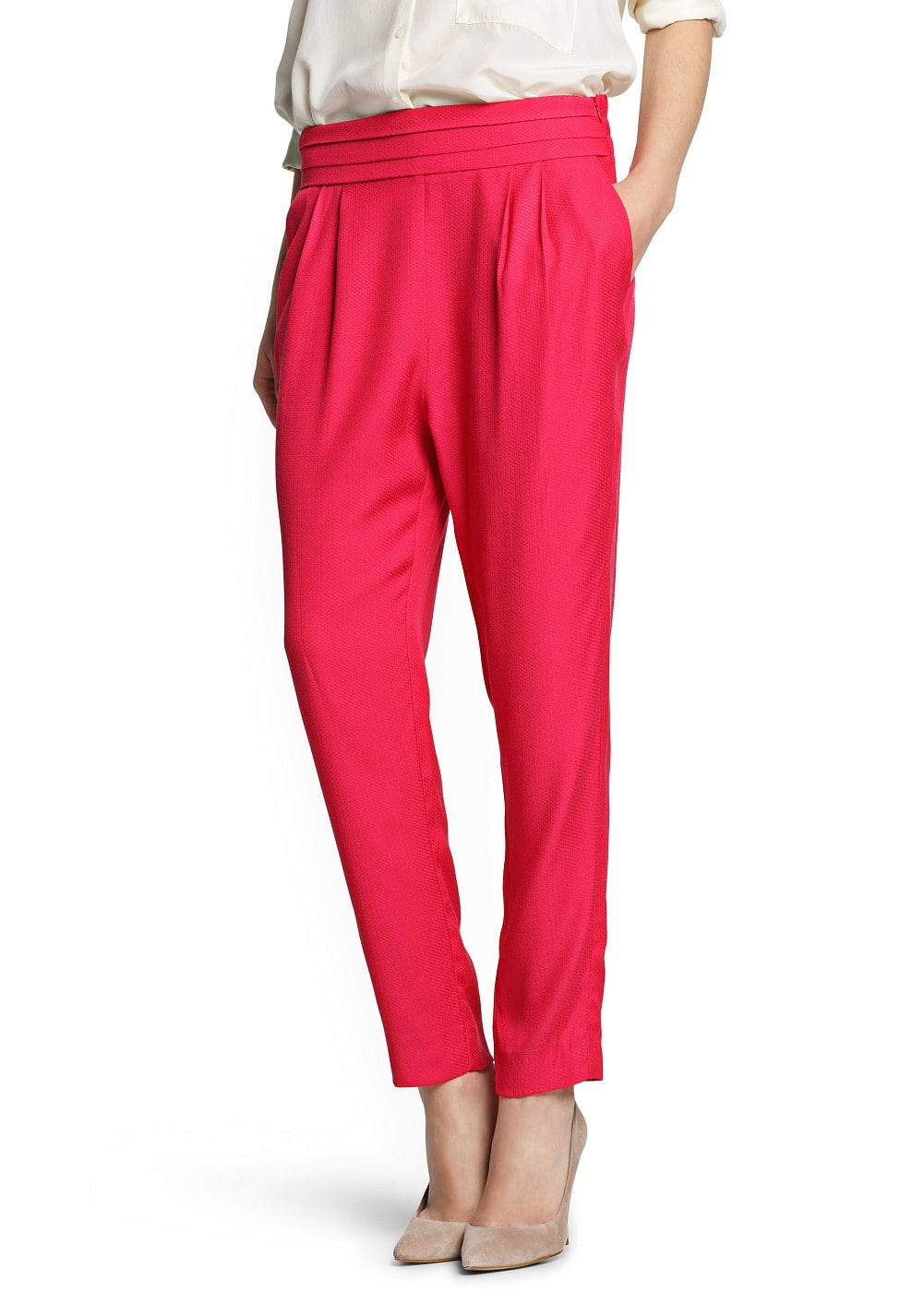 Textured baggy trousers   MANGO