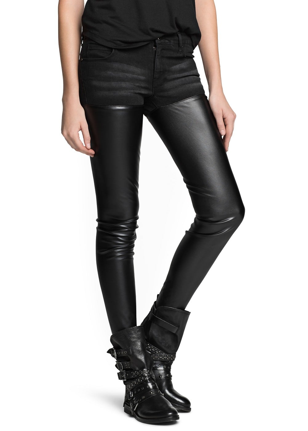 Super slim-fit black sade jeans | MANGO