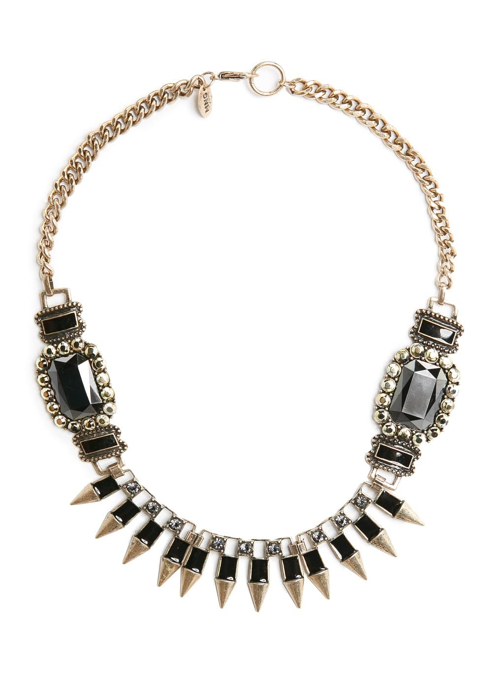 Spikes and stones necklace | MANGO