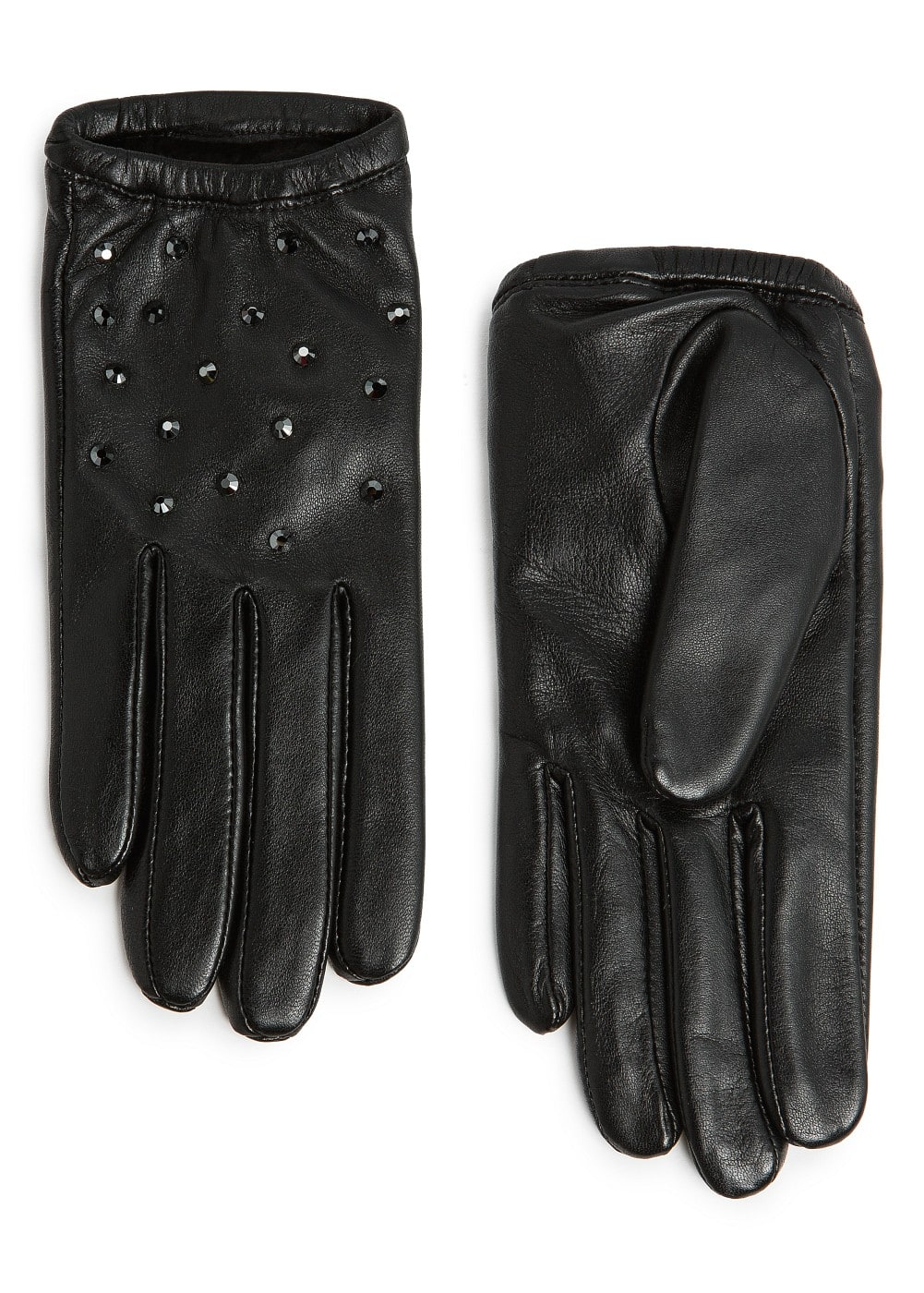 Strass short leather gloves | MANGO