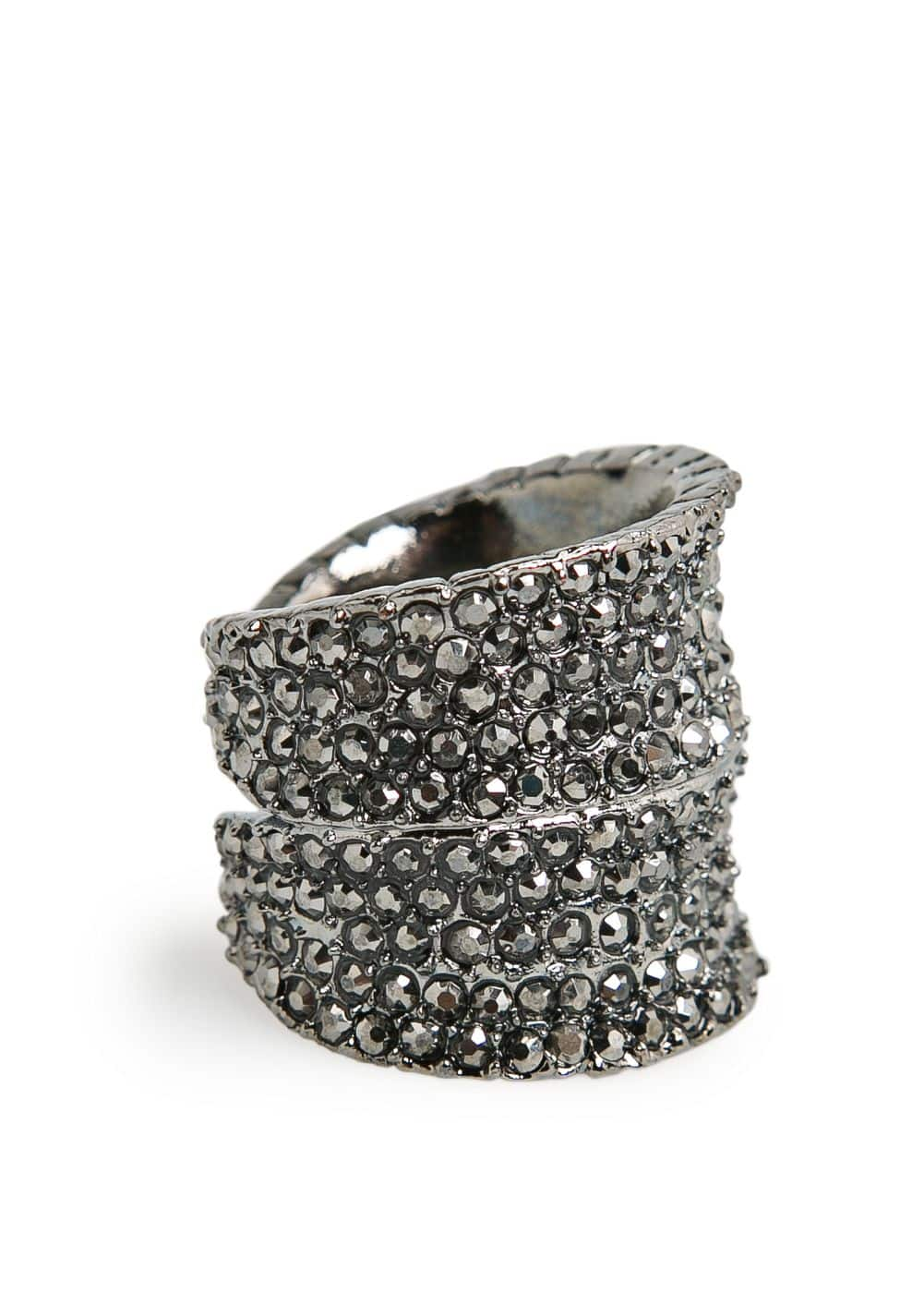 Wide metal crystal ring | MANGO