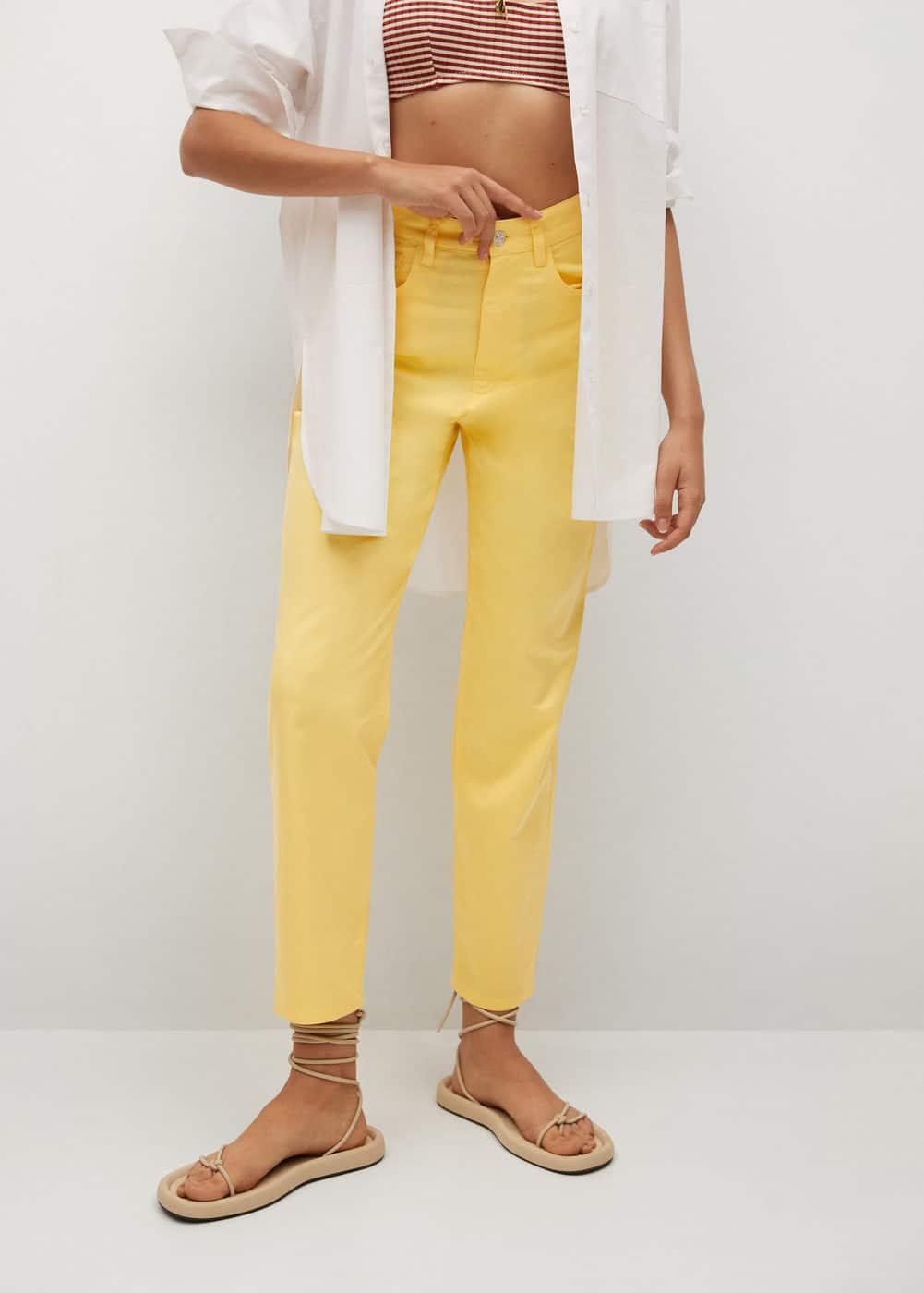 Straight cotton trousers - Woman   Mango Latvia