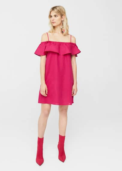 MANGO Ruffled off-shoulder dress