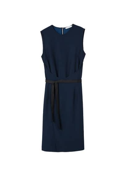 MANGO Contrast belt dress