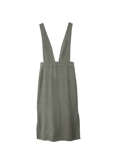 MANGO Detail cotton-blend pinafore dress