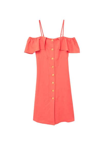 MANGO Ruffled linen dress