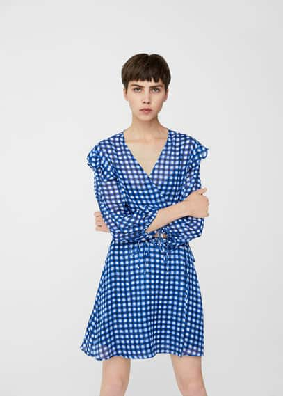 MANGO Check wrap dress