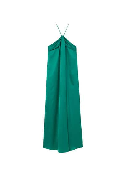 MANGO Satin halter dress