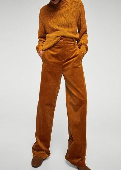 MANGO High-waist corduroy trousers