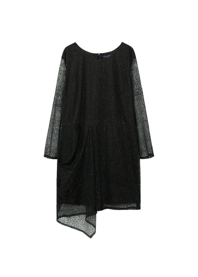 Violeta BY MANGO Sparkly appliqués tulle dress