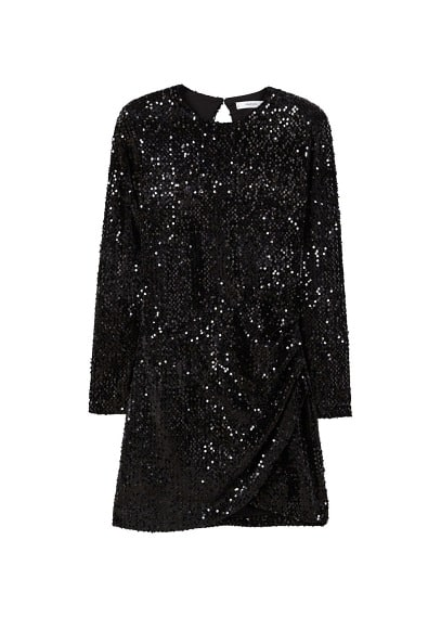 MANGO Pursed sequined dress