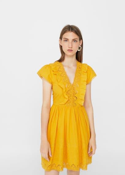 MANGO Embroidered panel dress