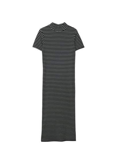 MANGO Striped fitted dress
