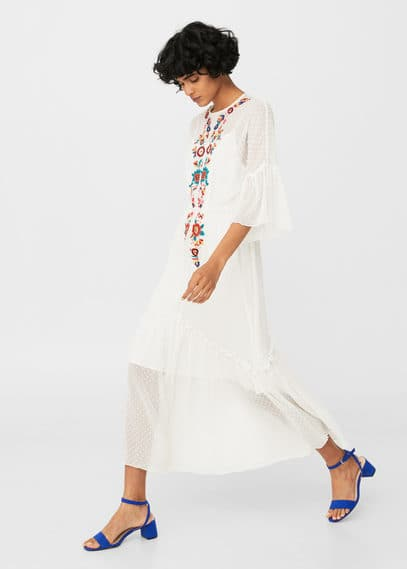 MANGO Plumeti floral embroidered dress