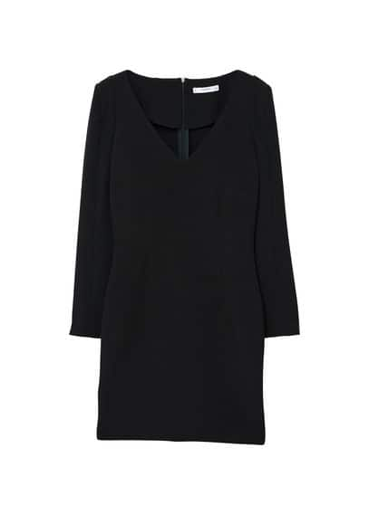MANGO V-neckline fitted dress