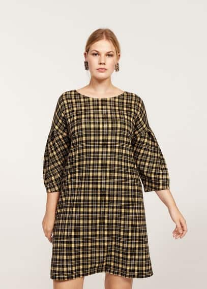 Violeta BY MANGO Pleated sleeve checked dress