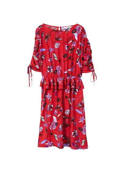 MANGO Printed ruched dress