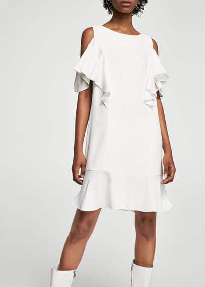 MANGO Ruffles cold-shoulder dress