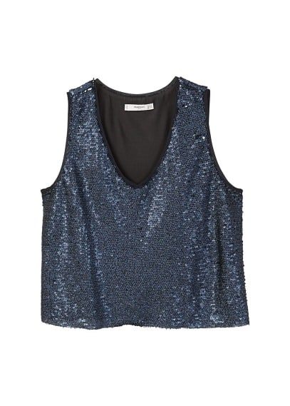 MANGO Sequined strap top