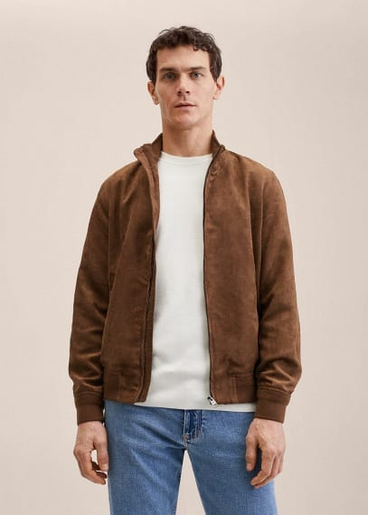 Куртка Mango (Манго) Куртка-бомбер с эффектом замши - Siena