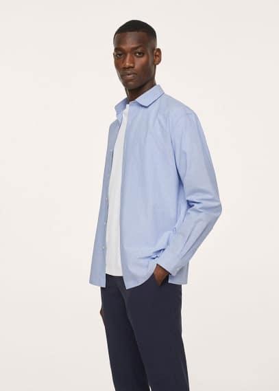 Рубашка Mango (Манго) Дышащая рубашка сирсакер - Memphis