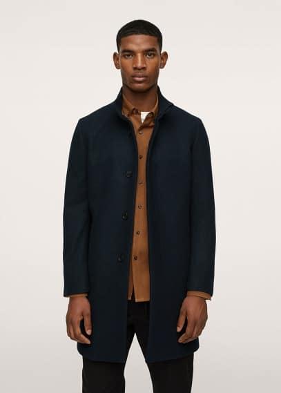 Мужские пальто Mango (Манго) Пальто из шерсти с воротником-стойкой - Funnel