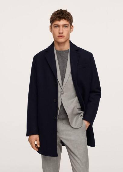 Мужские пальто Mango (Манго) Пальто из переработанной шерсти - Hake