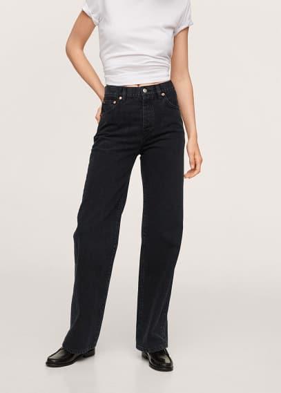 Широкие и расклешенные джинсы Mango (Манго) Прямые джинсы с завышенной талией - Kaia