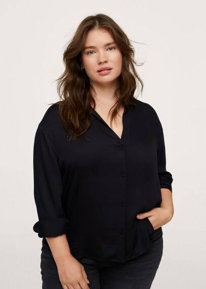 Рубашка Mango (Манго) Струящаяся рубашка с атласным блеском - Ramos1