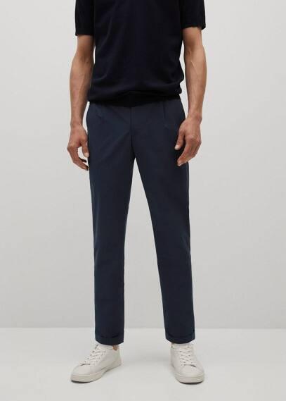 Мужские брюки Mango (Манго) Брюки slim fit сирсакер стретч - Cannes