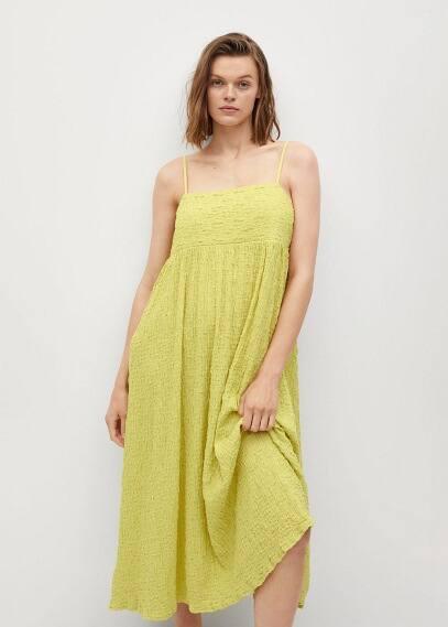 Платье Mango (Манго) Фактурное платье из хлопка - Dalma