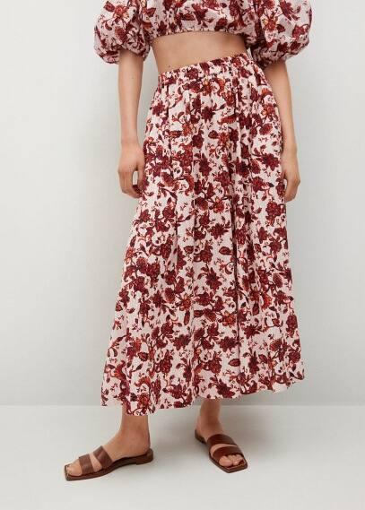 Юбка Mango (Манго) Хлопковая юбка с принтом - Coquet