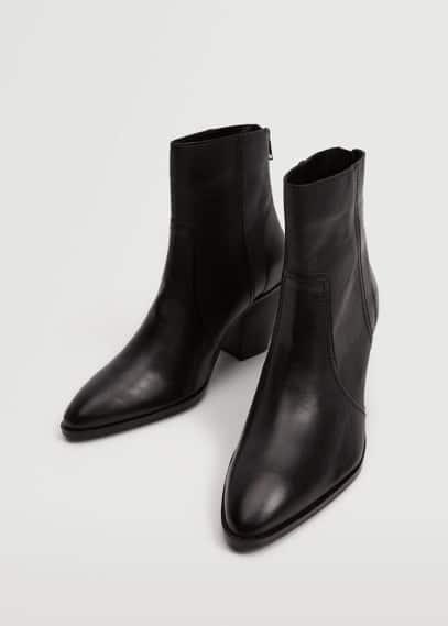 Женские ботинки Mango (Манго) Кожаные ботильоны с заострённым мысом - Raul