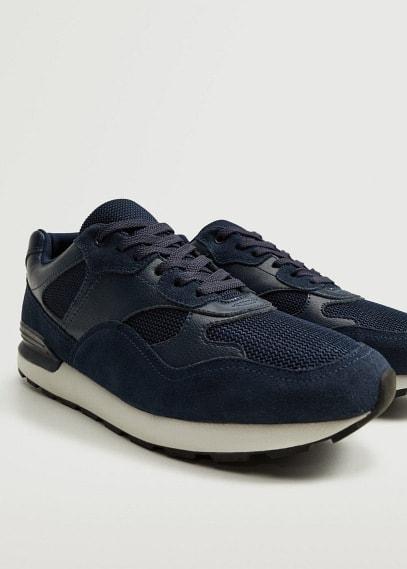 Мужские туфли Mango (Манго) Комбинированные кроссовки из кожи - Runsoft