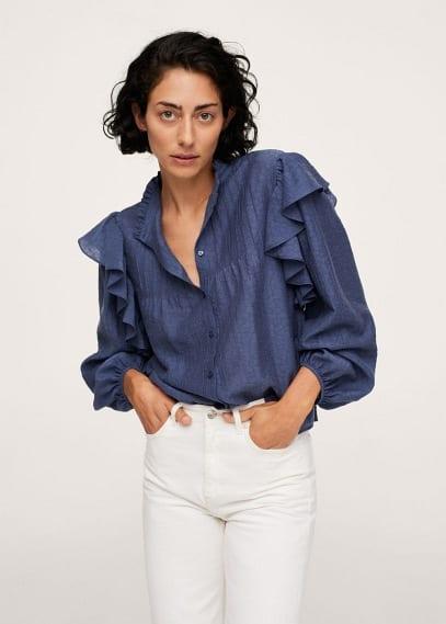 Блуза Mango (Манго) Блузка из лиоцелла с воланами - Dakota