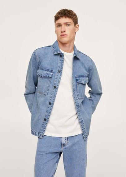 Куртка Mango (Манго) Верхняя рубашка из денима с карманами - John