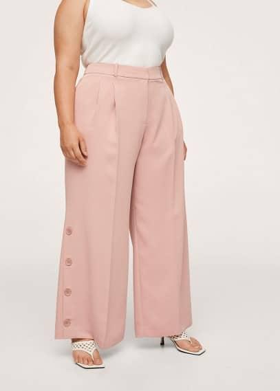 Женские брюки Mango (Манго) Брюки-палаццо с пуговицами - Pinky