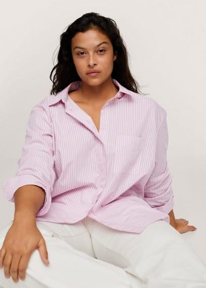 Рубашка Mango (Манго) Хлопковая блузка в полоску - Over