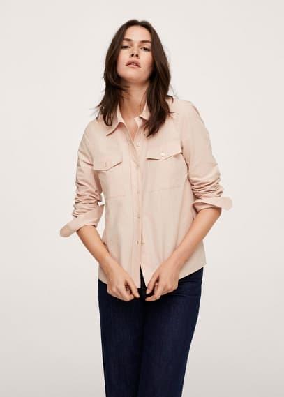 Женские рубашки с длинным рукавом Mango (Манго) Хлопковая рубашка с карманами - Paris