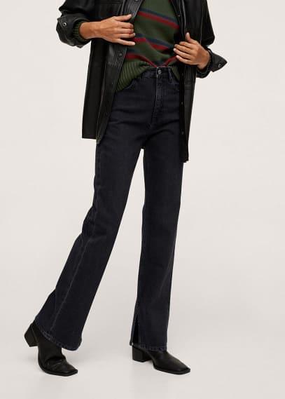 Женские джинсы Mango (Манго) Прямые джинсы с завышенной талией и разрезом - Miranda