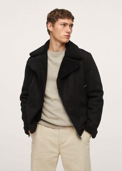 Куртка Mango (Манго) Куртка-авиатор с искусственной овчиной - Odeon