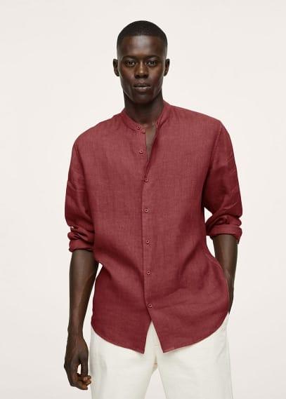 Рубашка Mango (Манго) Прямая льняная рубашка с воротником мао - Calcuta
