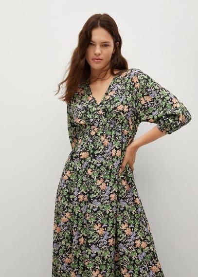 Платье Mango (Манго) Платье с цветочным принтом - Tangerin
