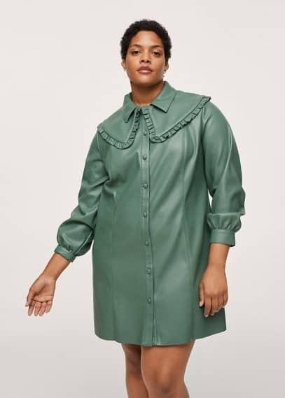 Платье Mango (Манго) Платье-рубашка из искусственной кожи - Wendy