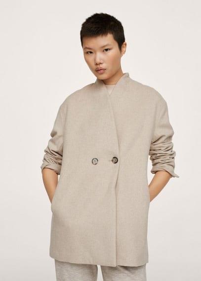 Женская верхняя одежда Mango (Манго) Двубортное пальто из шерсти - Gala